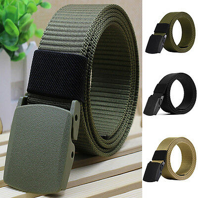 Adjustable Men Women Sport Military Plastic Buckle Belt Webbing Waistband Strap