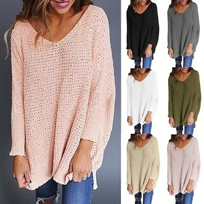UK Womens Jumper Ladies Long Sleeve Chunky Knitted Oversized Long Sweater Tops