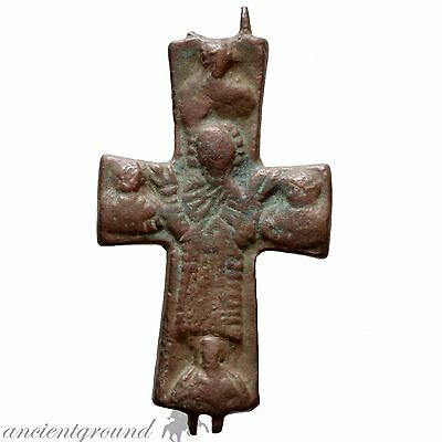 Massive Byzantine Bronze Religious Encolpion Cross Depicting Christ & Saints