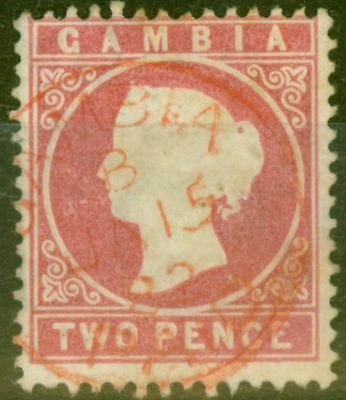 Gambia 1880 2d Rose SG13B Fine Used.