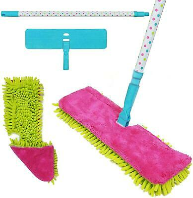Double Sided Microfibre Mop Cleaner Sweeper Wooden Floor + FREE Cloth Pad Refill