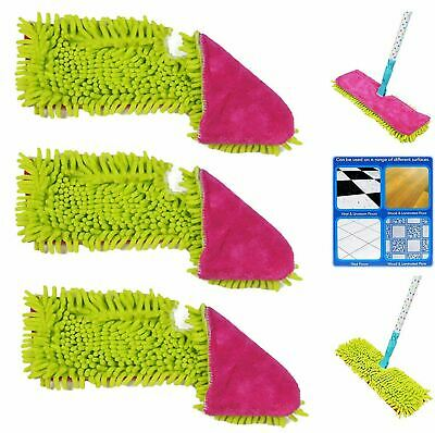 3x Double Sided Microfibre Mop Head Cloth Pad Refill 1 Chenille 1 Short Pile Set