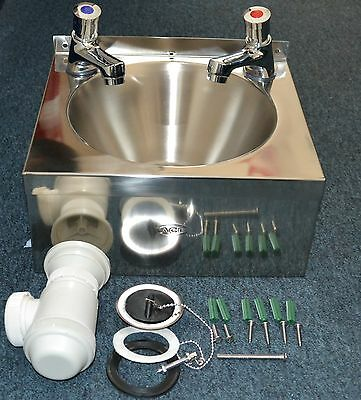 SUPER SALE NEW Stainless Steel HAND WASH SINK BASIN with TAPS & WASTE