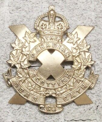 Canadian Army Badge:  Canadian Scottish Regiment - white metal