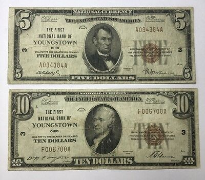 Lot Of 2 Small Size 1929 National Bank Notes Youngstown, Ohio