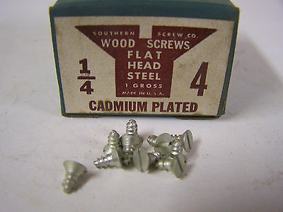 "#4 x 1/4"" Flat Head Wood Screws Slotted Cadmium Plated Made in USA Qty 144"