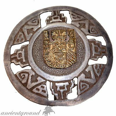Nice Vintage Silver & Gilded Shield Clothes Brooch Wearable