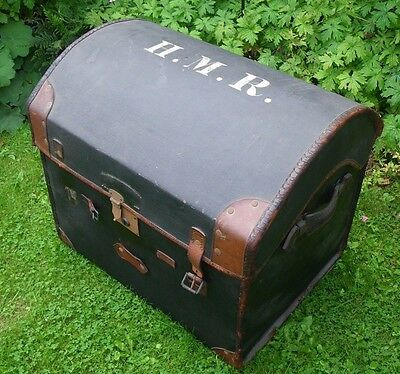Antique 19Th C. Small Domed Top Chest~Trunk~Leather Trim~Handles~H.m.r Initials~
