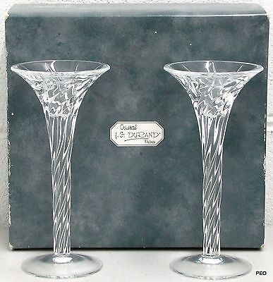 J G Durand Arques Clerval Cristal 24% Lead Crystal Candlestick Candle Holders