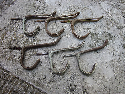 Vintage Lot b 6 Twisted Wire wall Hooks Industrial Factory Towel Coat  Bathroom