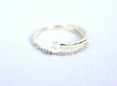 Sterling Silver CZ Pearl End Coil Ring - Gold Tone Women's Ring - Size  6 1/2