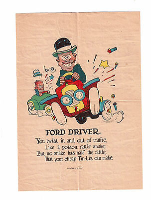 Vintage Colored Print Advertising '' Ford Driver'' !!