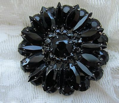 Vintage Jet Black Glass Victorian Style Mourning Brooch Pin Jewelry Prong Set
