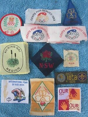 6 vintage 1970s AUSTRALIAN GIRL GUIDE Embroidered cloth patch BADGES