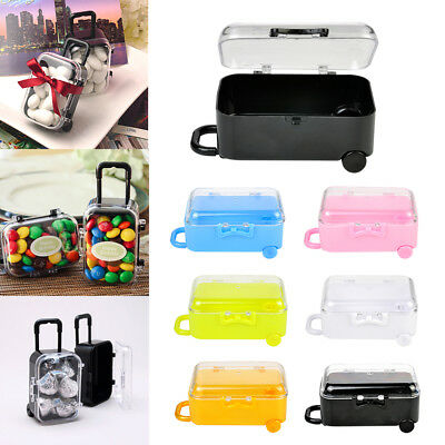 Useful Mini Rolling Travel Suitcase Box Wedding Favors Party Reception Candy Toy