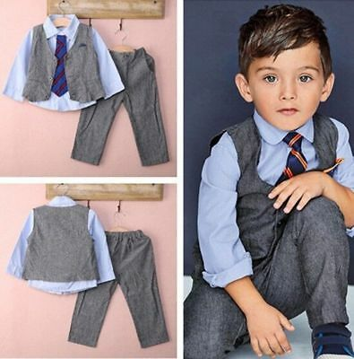 US Toddler Baby Boy Formal Outfits Gentleman Shirt +Waistcoat+ Pants+ Tie Sets