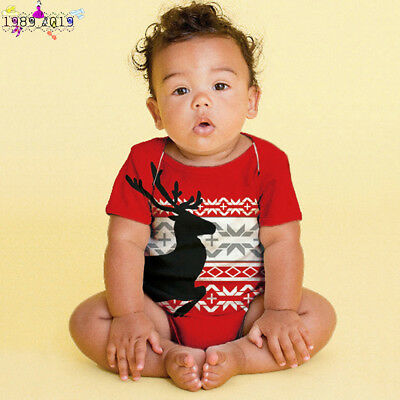Christmas Toddler Newborn Baby Boys Girls Deer Rompers Jumpsuit Outfits Clothes