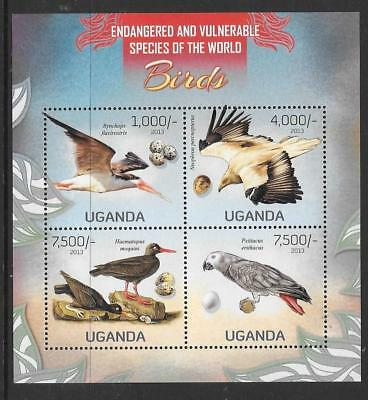 Uganda 2013 Vulnerable Species Of The World (1 )M/s Mnh
