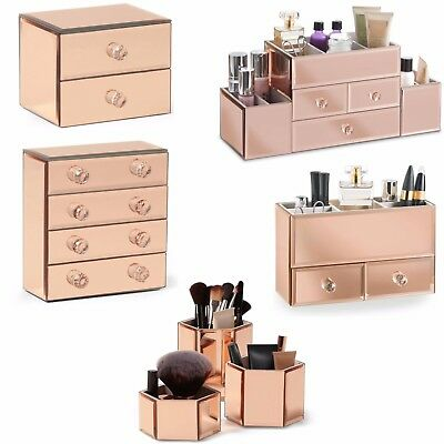 Beautify Organiser Rose Gold Mirrored Jewellery Makeup Table Top Tray Furniture