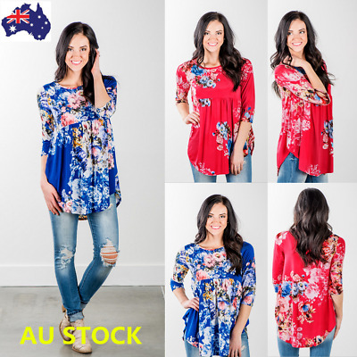 Plus Size Women Floral Print 3/4 Sleeve Loose Casual Ruffled Tops Shirt Blouse