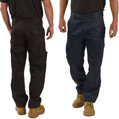 Mens Work Cargo Trousers Size 28 to 52 Black or Navy COMBAT CHINO TROUSERS - BWM