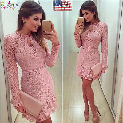 Fashion Women Elegant Hollow Lace Long Sleeve Slim Dress Party Evening Dress US
