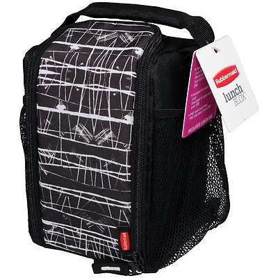 Rubbermaid Lunch Blox - Small- Black Striped - Insulated Bag W/strap New 1813500