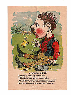 Vintage Colored Print Advertising '' A Careless Driver'' !!