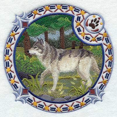 Embroidered Short-Sleeved T-Shirt - Grey Wolf Shield H4348 Sizes S - XXL