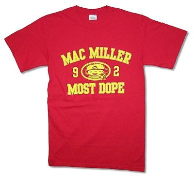 Mac Miller 1992 Most Dope Yellow Print Logo Red T Shirt New Official