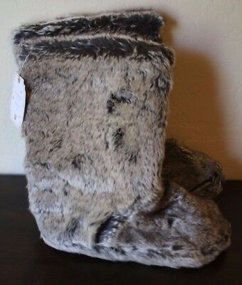 PB Teen Pottery Barn Faux Fur Gray Fuzzy Boots Slippers Ombre X Large Size 9 NEW