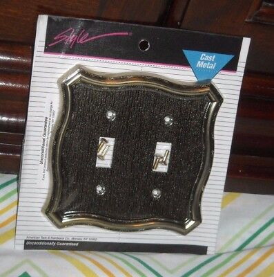 VINTAGE Cast Metal Double Light Switch Plate Cover American Tack & Hardware G