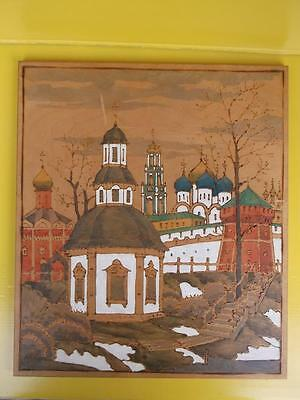 1011 / Vintage Signed Russian Pokerware And Painted Wall Panel