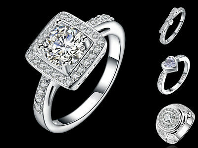 925 Sterling Silver Classical Princess Cut CZ Engagement Ring SIZE L/N/Q/R