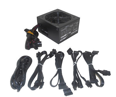 HIGH POWER 600W Modular Cable 2x PCIe 6x SATA 82% Efficient ATX Gaming PC  Supply