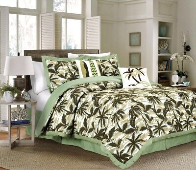 Chezmoi Collection 6pc Tropical Palm Tree Camouflage Comforter Set Full, Green