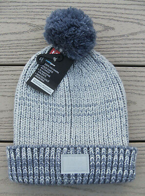 "NWT UNDER ARMOUR ColdGear ""Shimmer Pom"" Girls Beanie Hat-OSFM @$25 GRAY/PURPLE"