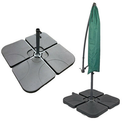 Outdoor Patio 4 Piece Cantilever Offset Umbrella Base Stand Weight Water  Sand US