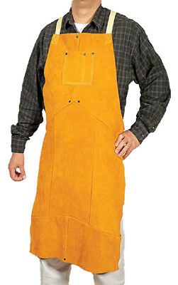 Weldas P/N 44-2136 Leather Shop Welding Bib Apron 36 Inch Golden Brown