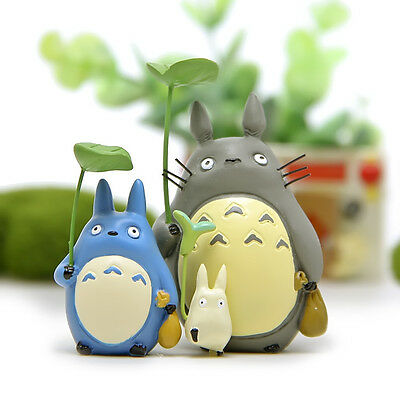 3 pcs/set My Neighbor Totoro Anim Resin Model  Figure Micro Landscape Home Decor