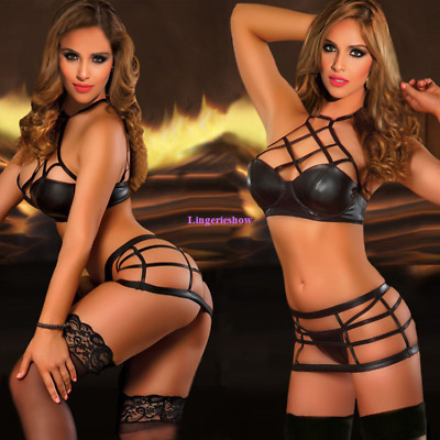 Sexy Ladies PVC Wet Look Lingeries Hollow Out High Waisted Criss Cross Bra Sets