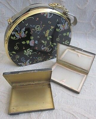 vintage 1960s metal COCKTAIL BAG with MIRROR COMPACT & BOX Germany imperfect