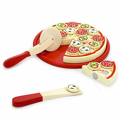 Wooden Chop and Play Cutting Pepperoni Pizza Party Food Set + Pizza Wheel #51026