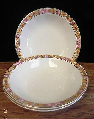 Edwin M. Knowles  Vitreous China Berry Bowls..gold Band Of Roses..set Of 3 Bowls