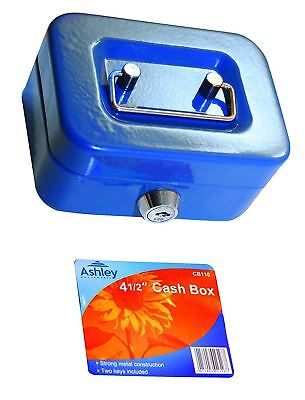 4 1/2 inch Small Key Lock Petty Cash Piggy Bank Money Box Safe Coin Slot Blue