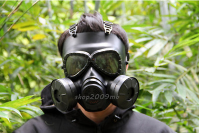 Gas Mask Double Filter Fan Perspiration Dust Eye Protect Face Guard Black
