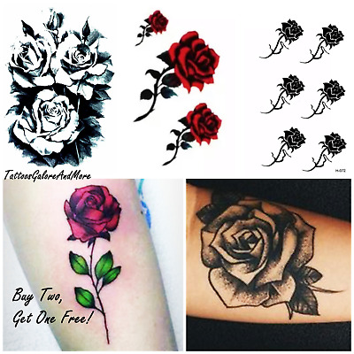Gothic Flower Tattoos, Rose Temporary Tattoos, Halloween Costume Body Tattoos
