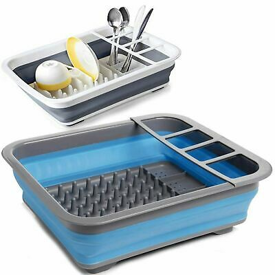 Folding Collapsible Silicone Dish Drainer Camping Caravan Boat Drying Rack