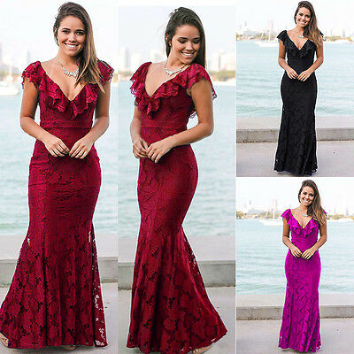 Womens Ladies Party Maxi Dress Evening Prom Ball Gown wedding Bridesmaid Dresses
