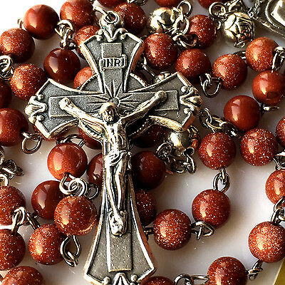 Gold stone PRAYER BEADS & SILVER ROSE BEAD ROSARY ITALY CROSS catholic necklace